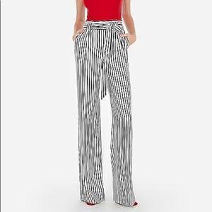 Express High Waisted Striped Sash Wide Leg Pant